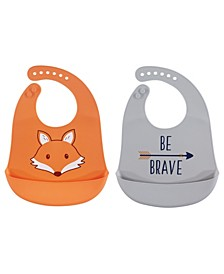 Hudson Baby Silicone Bibs, 2-Pack, One Size