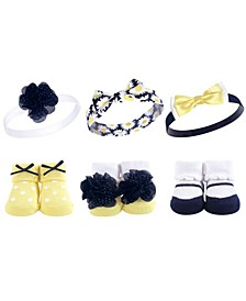 Headbands and Socks Giftset, 6-Piece Set, 0-9 Months