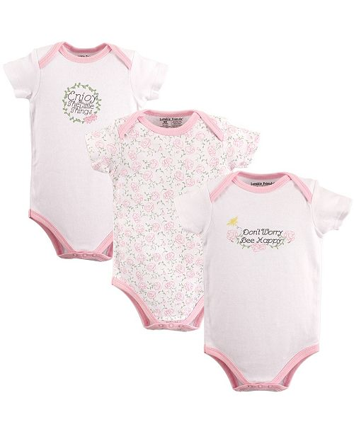 Luvable Friends Bodysuits, 3-Pack, 0-12 Months