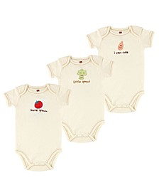 Organic Cotton Bodysuits, 3-Pack, 0-12 Months