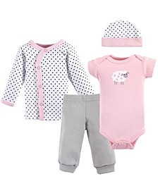 Preemie Pants, Bodysuits, Shirt, Cap, 4-Piece Set, Premie
