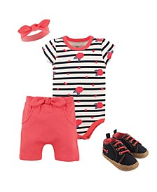 Yoga Sprout Bodysuits, Shorts, Headbands and Shoes, 4-Piece Set, 0-18Months