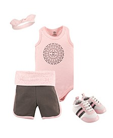 Baby Girl and Boy Fresh Yoga Sprout Layette and Shoe Set, Pack of 4
