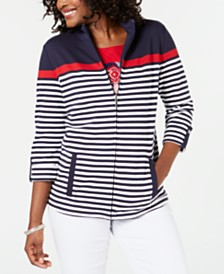 Karen Scott Petite Striped Mock-Neck Jacket, Created for Macy's