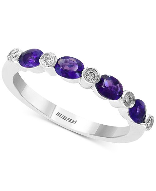 EFFY Collection EFFY® Amethyst (1/2 ct.t.w.) & Diamond Accent Ring in 14k White Gold