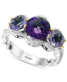 EFFY® Multi-Gemstone Ring (3-9/10 ct. t.w) in Sterling Silver & 18k Gold-Plate