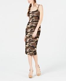 Planet Gold Juniors' Printed Spaghetti-Strap Midi Dress