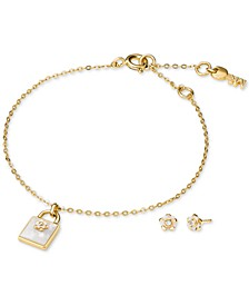 Sterling Silver Pavé Flower Padlock Bracelet & Stud Earrings Set