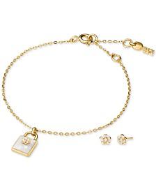 Michael Kors Sterling Silver Pavé Flower Padlock Bracelet & Stud Earrings Set