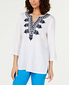 Linen Embroidered Split-Neck Tunic, Created for Macy's