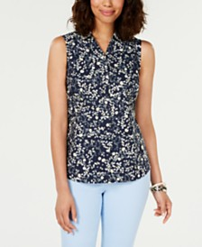 Charter Club Printed Sleeveless Shirt, Created for Macy's