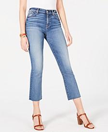 Cropped Frayed-Hem Jeans