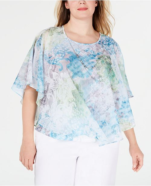 534200bd1d Alfred Dunner Plus Size Versailles Necklace Poncho Top   Reviews ...