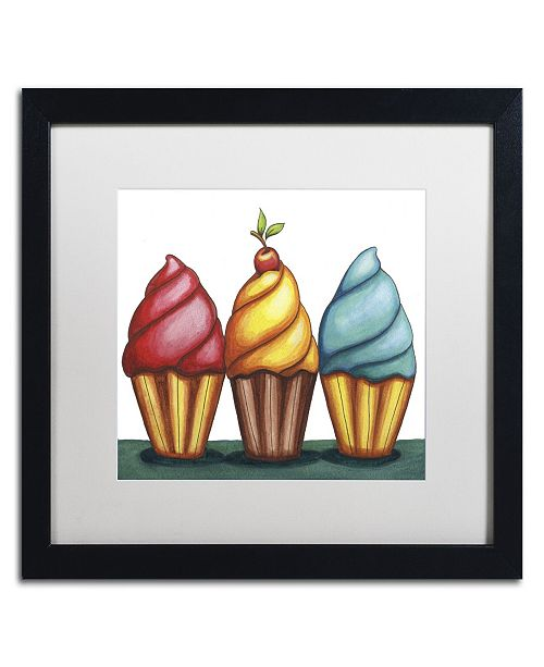 "Trademark Global Jennifer Nilsson Cupcake Trio Matted Framed Art - 24"" x 32"" x 2"""