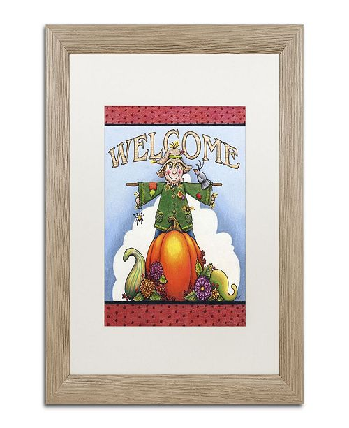 "Trademark Global Jennifer Nilsson Scarecrow Welcome Matted Framed Art - 11"" x 14"" x 0.5"""