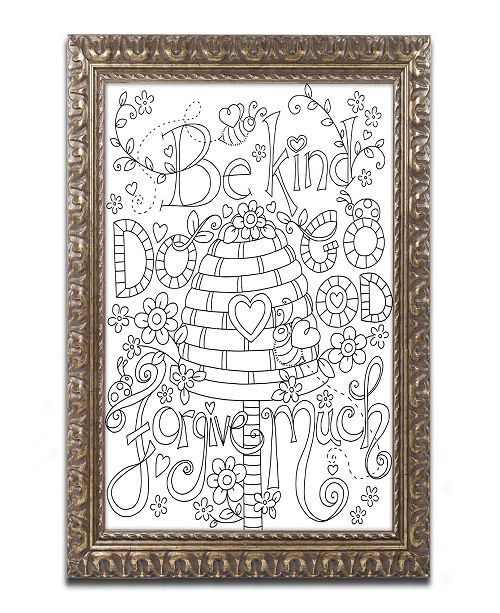 "Trademark Global Jennifer Nilsson Be Kind Coloring Page Ornate Framed Art - 11"" x 14"" x 0.5"""