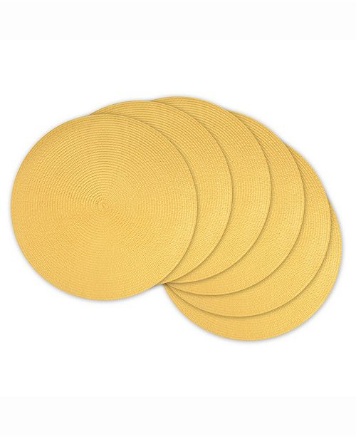 Design Import Round Polypropylene Woven Placemat, Set of 6