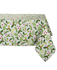 "Boughs of Holly Print Tablecloth 52"" x 52"""