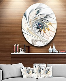 "Designart 'White Stained Glass Floral Art' Large Floral Metal Circle Wall Art - 38"" x 38"""