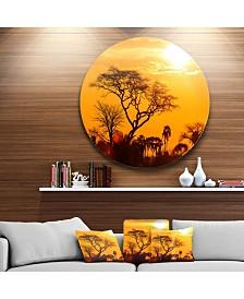 """Designart 'Orange Glow Of African Sunset' Extra Large Wall Art Landscape - 23"""" x 23"""""""