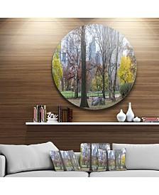"Designart 'Central Park New York City In Autumn' Landscape Metal Circle Wall Art - 38"" x 38"""