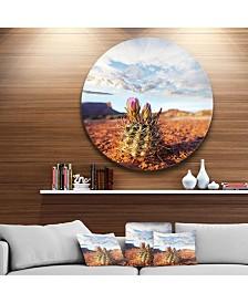 """Designart 'Large Cactus Under Cloudy Sky' Floral Metal Circle Wall Art - 23"""" x 23"""""""