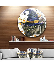 "Designart 'Halloween Cat And Witch Hat' Disc Contemporary Animal Metal Circle Wall Decor - 23"" x 23"""