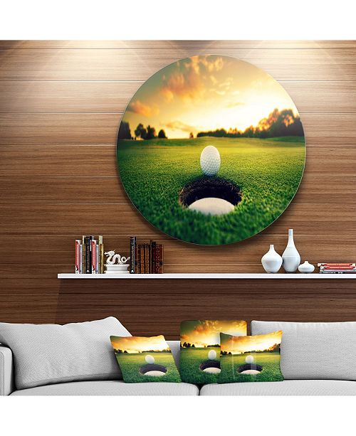 "Design Art Designart 'Golf Ball Near Hole' Landscape Metal Circle Wall Art - 38"" x 38"""