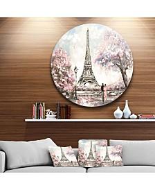 "Designart 'Eiffel With Pink Flowers' Landscape Round Circle Metal Wall Art - 23"" x 23"""