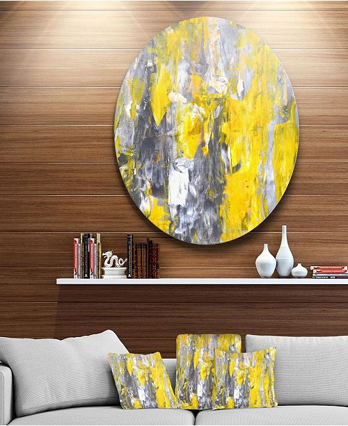 "Design Art Designart 'Grey And Yellow Abstract Pattern' Abstract Circle Metal Wall Art - 38"" x 38"""