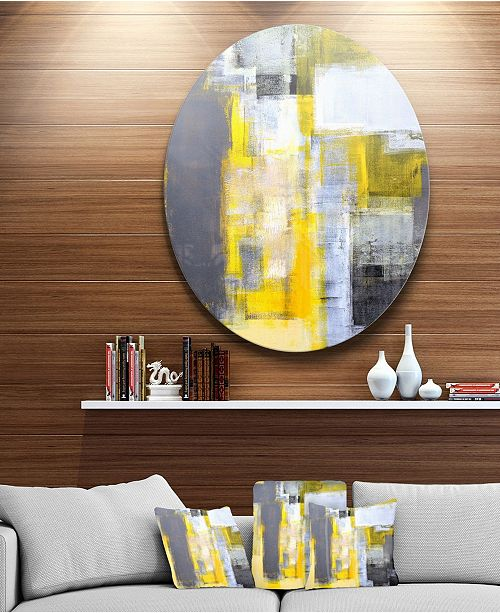 "Design Art Designart 'Grey And Yellow Blur Abstract' Abstract Circle Metal Wall Art - 38"" x 38"""