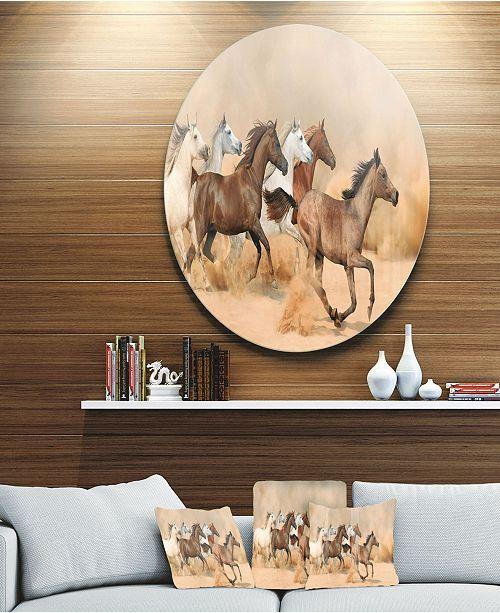 "Design Art Designart 'Herd Gallops In Sand Storm' Photography Circle Metal Wall Art - 23"" x 23"""