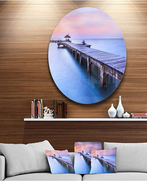 "Design Art Designart 'Blue Wooden Bridge' Seascape Photography Circle Metal Wall Art - 23"" x 23"""