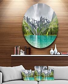 "Designart 'Mountain Lake Panorama' Disc Photography Circle Metal Wall Art - 38"" x 38"""