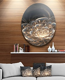 "Designart 'Fractal Flower With Golden Rays' Disc Floral Circle Metal Wall Art - 38"" x 38"""