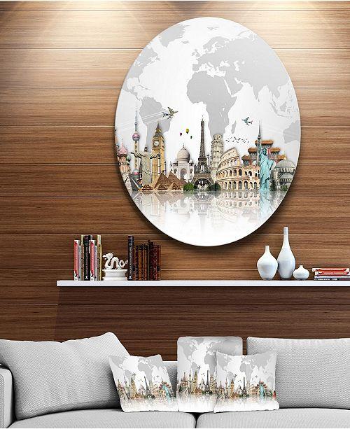 "Design Art Designart 'Famous Monuments Across World' Circle Metal Wall Art - 23"" x 23"""