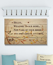 """Design Art 'Welcome to our home... Orange vines' Wood Wall Art - 40"""" x 20"""""""