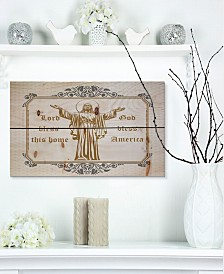 """Design Art 'Lord Bless this house. Lord Bless America' Wood Wall Art - 20"""" x 12"""""""