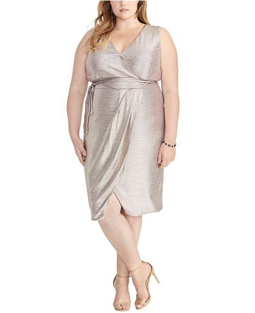 RACHEL Rachel Roy Sleeveless Faux Wrap Foil Dress