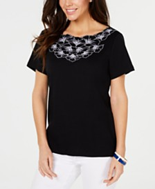 Karen Scott Floral-Trim Cotton Top, Created for Macy's
