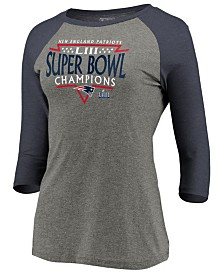 Majestic Women's New England Patriots Super Bowl LIII Champ Neutral Zone Raglan T-Shirt