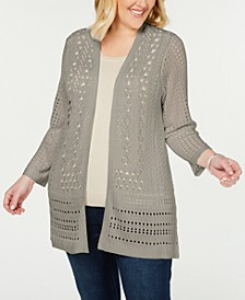 Plus Size Open-Stitch Open-Front Cardigan, Created for Macy's