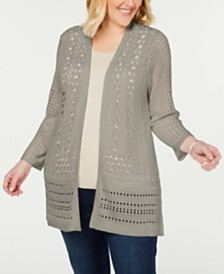 Charter Club Plus Size Open-Stitch Open-Front Cardigan, Created for Macy's
