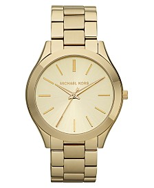 Michael Kors Unisex Slim Runway Gold-Tone Stainless Steel Bracelet Watch 42mm MK3179
