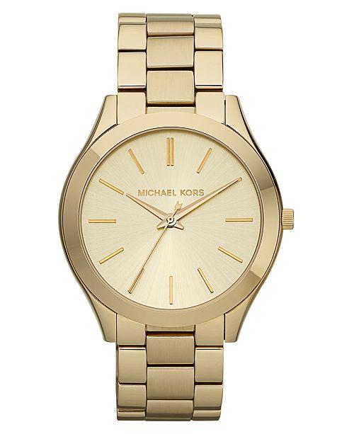 Michael Kors Uni Slim Runway Gold Tone Stainless Steel Bracelet Watch 42mm Mk3179 59 Reviews Main Image