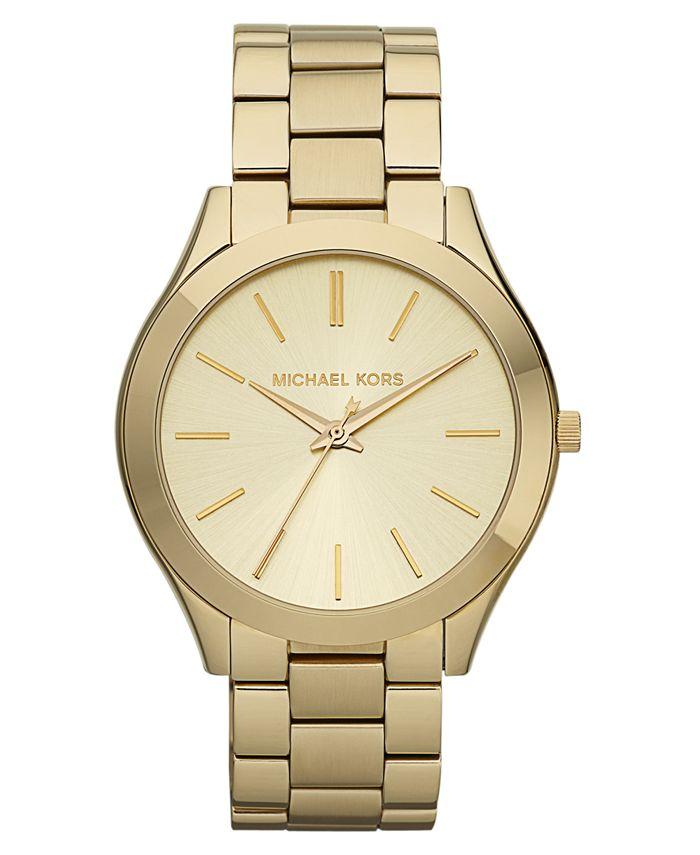 Michael Kors - Women's Slim Runway Gold-Tone Stainless Steel Bracelet Watch 42mm