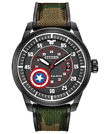 Marvel by Citizen Eco-Drive Men's Captain America Camouflage Strap Watch 45mm