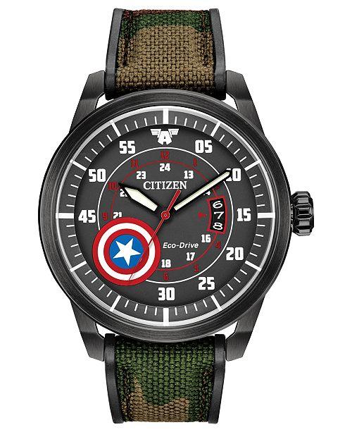 Citizen Eco-Drive Men's Captain America Camouflage Strap Watch 45mm