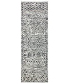 "BB Rugs Natural Wool NAT-8 Gray 2'6"" x 8' Runner Area Rug"
