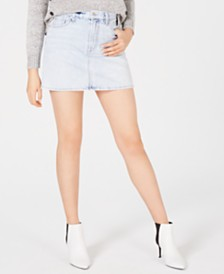 7 For All Mankind Cotton Denim Mini Skirt